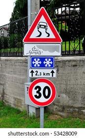 Road sign slippery dangerous road