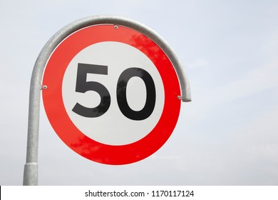 Road sign speed limit 50 km per hour