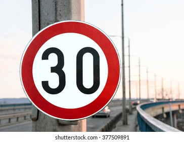 Road sign speed limit on the bridge
