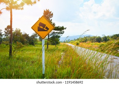 Road sign Steep Slope / warning road traffic sign steep road sign slope and truck on hill mountain