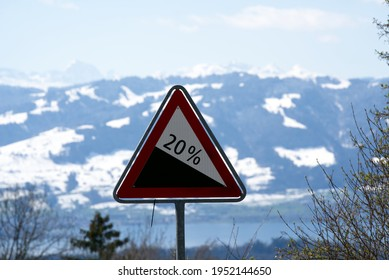 Road sign steep terrain of 20 per cent. Photo taken April 8th, 2021, Hinwil, Switzerland.