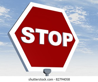 Road sign with stop word on red background