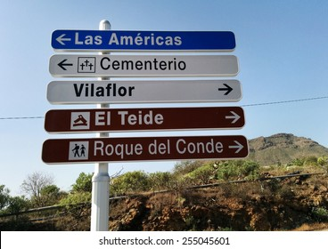 Road sign. Tenerife, Canary Islands