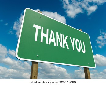 A road sign thank you words on sky background