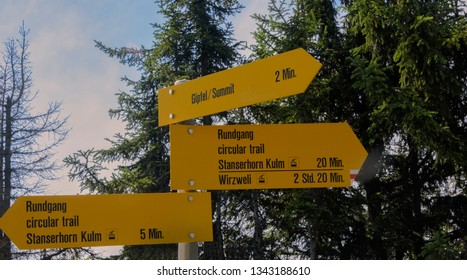 Road sign at the top of Stanserhorn Mountain in Lucerne, Switzerland