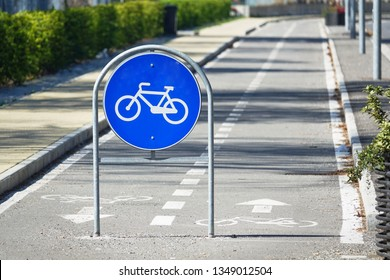 Road sign for the track reserved for bicycles