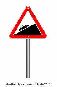 road sign triangle,steep ascent
