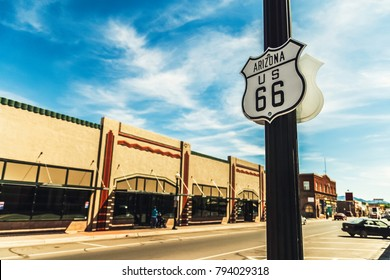 Road sign US road 66 in Williams, Arizona.