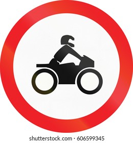 Road sign used in Cyprus - No motorcycles.