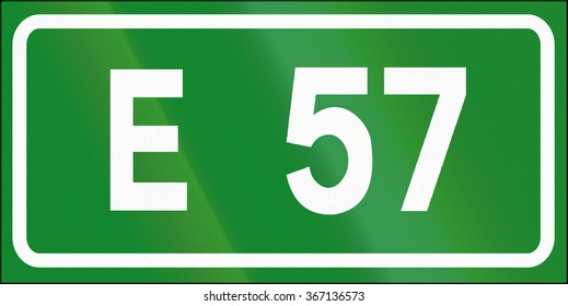 Road sign used in Italy - Icon of european road 57.