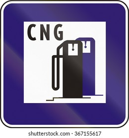 Road sign used in Slovakia - CNG refueling.