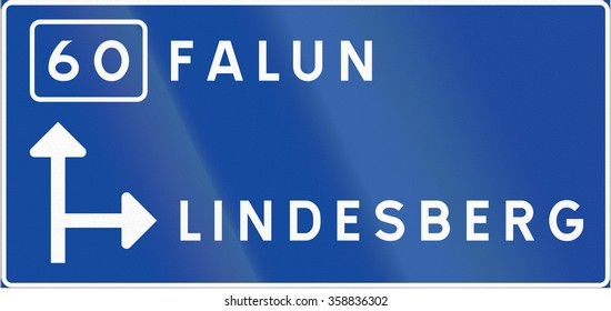 Road sign used in Sweden - Advance direction sign, diagrammatic type.