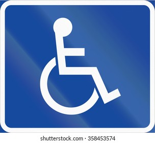 Road sign used in Sweden - Symbol plate for specified vehicle or road user category (handicapped).