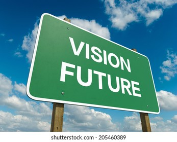 A road sign with vision future words on sky background