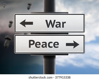 Road sign. War and peace - two arrows. Background with bombs and clear sky