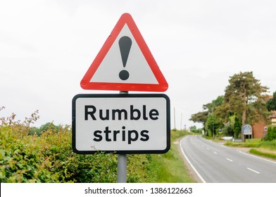 Road sign warning drivers of the presence of rumble strips to control speed