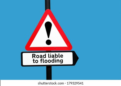 Road sign warning road liable to flooding