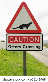 Road sign warning for otters crossing in Scotland, UK.