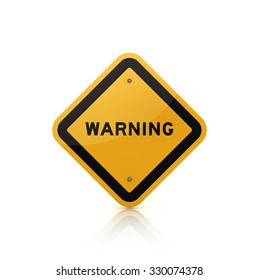 Road Sign with WARNING Text - Isolated on White Background - High Quality 3D Rendering