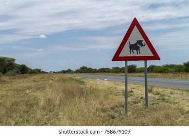 road sign with  warning of warthog in Namibia