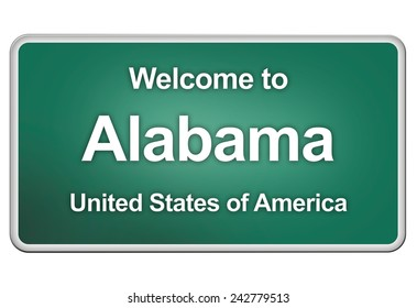 road sign: Welcome to Alabama