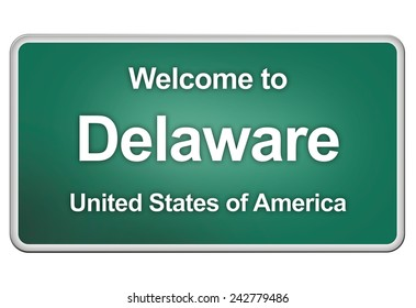 road sign: Welcome to Delaware
