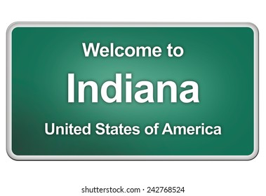 road sign: welcome to Indiana