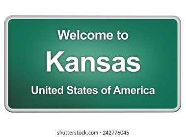 road sign: Welcome to Kansas