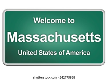 road sign: Welcome to massachusetts
