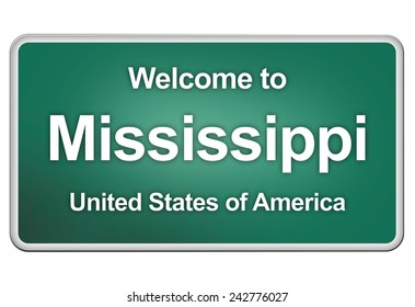 road sign: Welcome to Mississippi