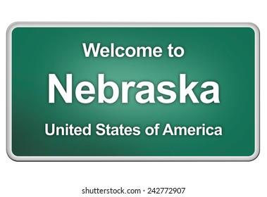 road sign: welcome to Nebraska