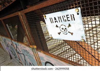 Road sign with the word danger on it.  Concept image