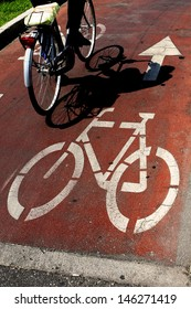 road signals:bicycle lane with bike moving on it.signal painted on the asphalt