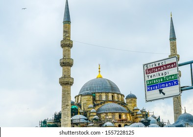 Road signboard with beautiful Turkish mosque background. Travel Istanbul background.