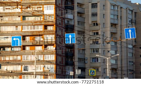 Road Signs Against Background Apartment Buildings Stock Photo (Edit ...