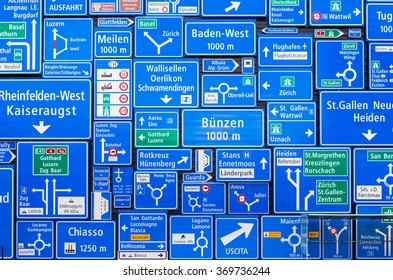 road signs collage of destinations in Switzerland