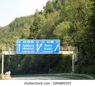Road signs with directions to cities and state borders on the Austrian motorway