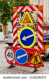 Road signs for road marking when repairing a road in a city