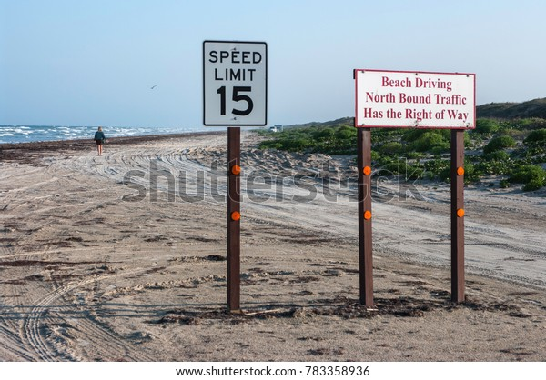 Road signs on the Padre Island Beach