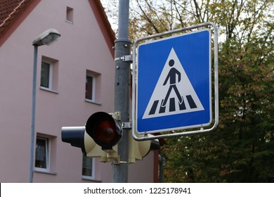 Road signs on the streets. Road Sign Pedestrian Crossing.