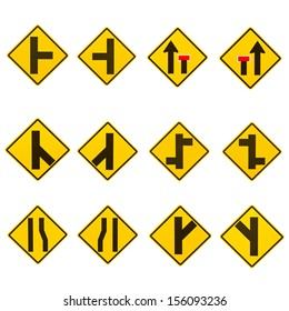 Road signs set on a white background.