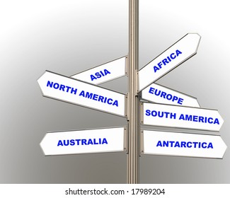 road signs showing the seven continents