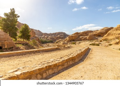 Road to the Sik canyon. It is the entrance to Petra (ancient city). Petra is the main attraction of Jordan. Petra is included in the UNESCO heritage list.