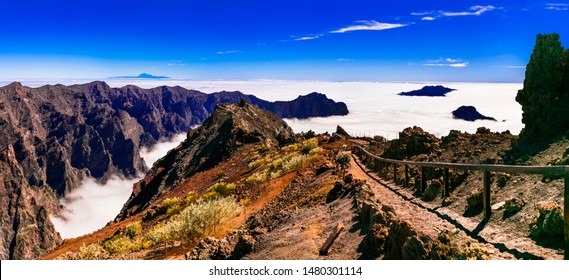 Road to the sky. Mirador Roque de los Muchachos - La palma, Canary islands. popular tourist attraction and place of biggest observatory in Europe