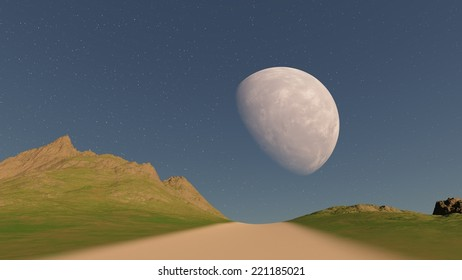 A road to sky with moon  through hilly terrain