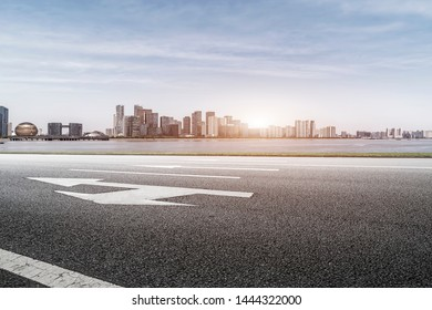 Road and skyline of urban architecture