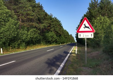 Road in Slovenia with a warning sign signaling wild animals crossing. Roe deers are very common in Slovenia, and thousands are killed by cars each year.