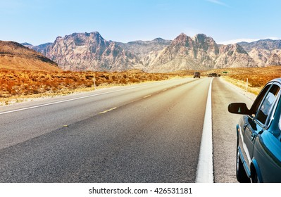 Road in Southern Nevada near Las Vegas, summer time, USA