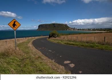 Road to Stanley, Tasmania (Australia) with a Penguin Sign