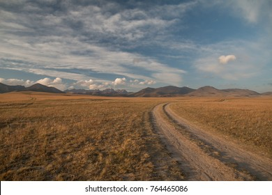 Road in the steppe, Song-Kol lake, Kyrgyzstan, Central Asia